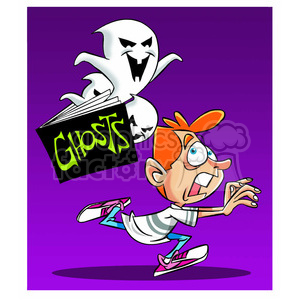 cartoon funny silly comics character mascot mascots Halloween scared kid chasing chased ghost child boy run running stories story ghosts