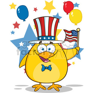 Royalty Free RF Clipart Illustration Patriotic Yellow Chick Cartoon Character Waving An American Flag On Independence Day Vector Illustration Isolated On White clipart. Royalty-free image # 395280