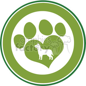 Royalty Free RF Clipart Illustration Love Paw Print Green Circle Banner Design With Dog Silhouette clipart. Commercial use image # 395290