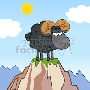 Royalty Free RF Clipart Illustration Angry Black Ram Sheep Cartoon Mascot Character On Top Of A Mountain clipart. Royalty-free image # 395300
