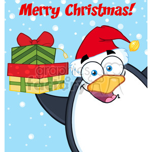 Royalty Free RF Clipart Illustration Merry Christmas With Penguin Cartoon Mascot Character Holding Up A Stack Of Gifts clipart. Royalty-free image # 395310