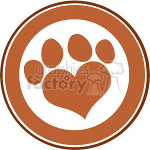 Royalty Free RF Clipart Illustration Love Paw Print Brown Circle Banner Design clipart. Commercial use image # 395330