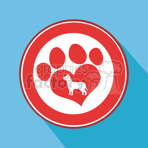 8253 Royalty Free RF Clipart Illustration Love Paw Print Red Circle Icon Modern Flat Design Vector Illustration clipart. Royalty-free image # 395350