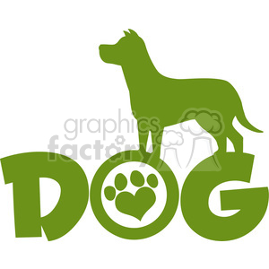 Illustration Dog Green Silhouette Over Text With Love Paw Print Vector Illustration Isolated On White Background clipart. Commercial use image # 395370