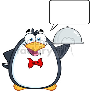 Royalty Free RF Clipart Illustration Waiter Penguin Serving Food On A Platter With Speech Bubble clipart. Royalty-free image # 395380