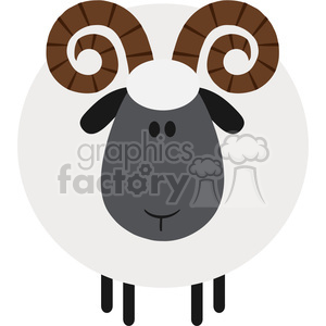 8237 Royalty Free RF Clipart Illustration Cute Ram Sheep Modern Flat Design Vector Illustration