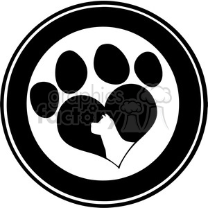 Royalty Free RF Clipart Illustration Love Paw Print Black Circle Banner Design With Dog Head Silhouette clipart. Royalty-free image # 395400