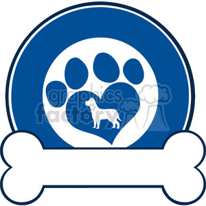 Illustration Veterinary Blue Circle Label Design With Love Paw Dog And Bone clipart. Commercial use image # 395430