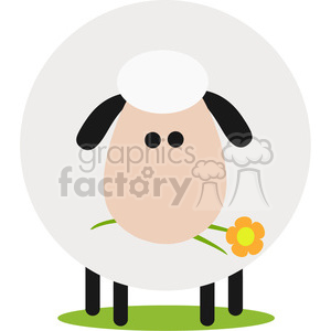 8219 Royalty Free RF Clipart Illustration Cute White Sheep With A Flower Modern Flat Design Vector Illustration clipart. Royalty-free image # 395490