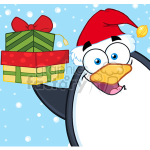 Illustration Smiling Penguin Cartoon Mascot Character Holding Up A Stack Of Gifts clipart. Royalty-free image # 395520