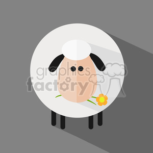 8228 Royalty Free RF Clipart Illustration Cute White Sheep With A Flower Modern Flat Design Vector Illustration clipart. Royalty-free image # 395550