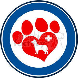 Royalty Free RF Clipart Illustration Veterinary Love Paw Print Blue Circle Banner Design With Dog And Cross clipart. Commercial use image # 395560
