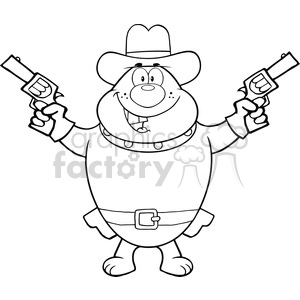 Royalty Free RF Clipart Illustration Black And White Bulldog Cowboy Cartoon Character Holding Up Two Revolvers