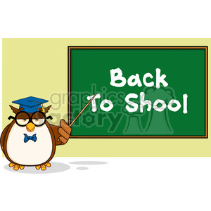 Wise Owl Teacher Cartoon Mascot Character In Front Of School Chalk Board With Text clipart. Commercial use image # 395600