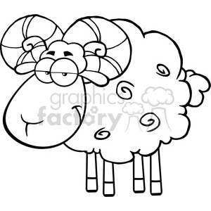 Royalty Free RF Clipart Illustration Black And White Cute Ram Sheep Cartoon Mascot Character clipart. Commercial use image # 395610