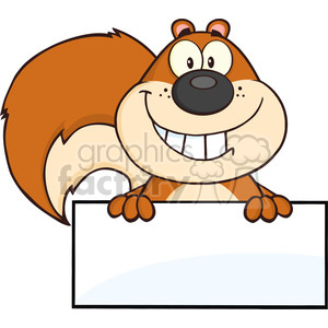 Royalty Free RF Clipart Illustration Smiling Squirrel Cartoon Mascot Character Over Blank Sign clipart. Commercial use image # 395640