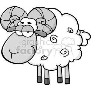 Royalty Free RF Clipart Illustration Cute Ram Sheep Cartoon Mascot Character In Gray Color