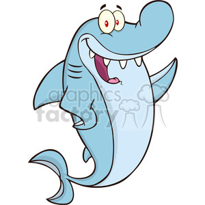 Royalty Free RF Clipart Illustration Happy Shark Cartoon Character Waving clipart. Commercial use image # 395660