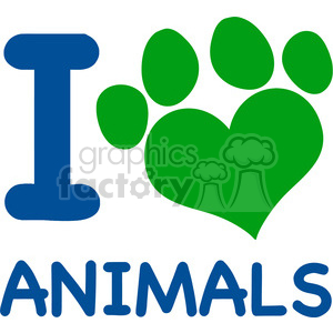 I Love Animals Text With Heart Paw Print In Blue And Green clipart. Commercial use image # 395690