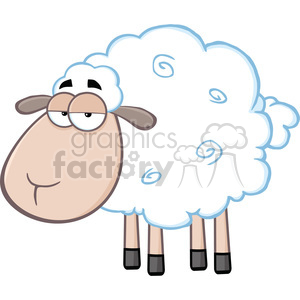 Royalty Free RF Clipart Illustration Cute White Sheep Cartoon Mascot Character clipart. Commercial use image # 395700