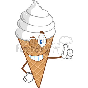 Royalty Free RF Clipart Illustration Winking Ice Cream Cartoon Mascot Character Holding A Thumb Up clipart. Royalty-free image # 395730