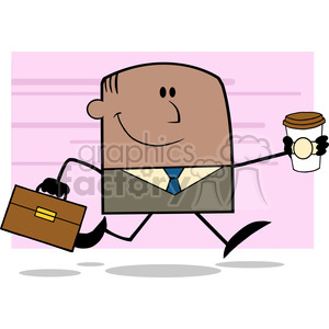 Lucky African American Businessman Running To Work With Briefcase And Coffee Cartoon Character On Background clipart. Royalty-free image # 395740