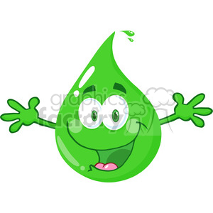 Royalty Free RF Clipart Illustration Happy Eco Green Drop With Welcoming Open Arms clipart. Commercial use image # 395750