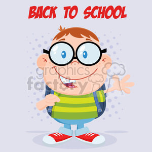 Royalty Free RF Clipart Illustration Happy Geek Boy Waving Flat Design Wit Text clipart. Commercial use image # 395760