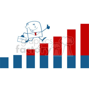 Royalty Free RF Clipart Illustration Businessman Giving A Thumb Up And Running Over Growing Bar Chart Monochrome Cartoon Character clipart. Commercial use image # 395770