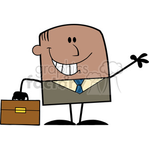 Royalty Free RF Clipart Illustration Smiling African American Businessman Cartoon Character Waving clipart. Royalty-free image # 395780