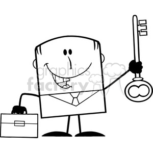 Royalty Free RF Clipart Illustration Black And White Happy Businessman With Briefcase Holding A Golden Key Cartoon Character clipart. Royalty-free image # 395800