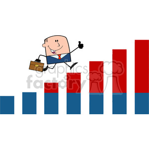 Royalty Free RF Clipart Illustration Businessman Giving A Thumb Up And Running Over Growing Bar Chart Cartoon Character clipart. Commercial use image # 395850