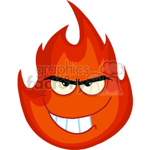 Royalty Free RF Clipart Illustration Angry Evil Fire Cartoon Mascot Character clipart. Royalty-free image # 395870