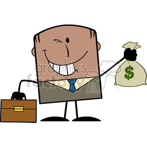 Royalty Free RF Clipart Illustration Winking African American Businessman With Briefcase Holding A Money Bag Cartoon Character On Background clipart. Royalty-free image # 395880