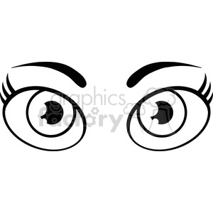 Royalty Free RF Clipart Illustration Black And White Cartoon Women Eyes clipart. Royalty-free image # 395920