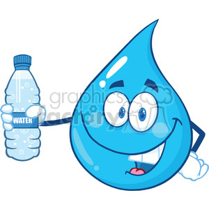 Water Drop Character Holding Up A Water Bottle clipart. Royalty-free image # 395930