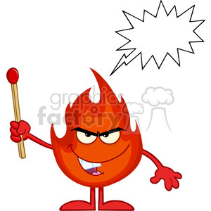 Royalty Free RF Clipart Illustration Evil Fire Cartoon Mascot Character Holding Up A Match Stick With Speech Bubble clipart. Royalty-free image # 395940