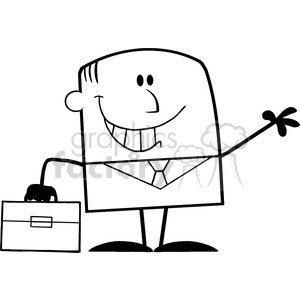 Royalty Free RF Clipart Illustration Black And White Smiling Businessman Cartoon Character Waving clipart. Royalty-free image # 395960