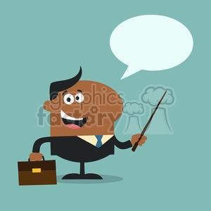 8356 Royalty Free RF Clipart Illustration African American Manager Holding A Pointer Stick Flat Style Vector Illustration With Speech Bubble photo. Royalty-free photo # 396002