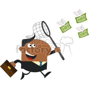 8297 Royalty Free RF Clipart Illustration African American Manager Chasing Flying Money With A Net Flat Design Style Vector Illustration clipart. Royalty-free image # 396012