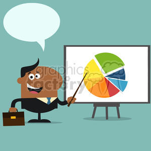 8362 Royalty Free RF Clipart Illustration African American Manager Pointing Progressive Pie Chart On A Board Flat Style Vector Illustration With Speech Bubble photo. Royalty-free photo # 396022