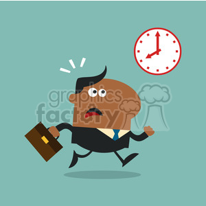 8274 Royalty Free RF Clipart Illustration Hurried African American Manager Running Past A Clock Modern Flat Design Vector Illustration clipart. Commercial use image # 396042