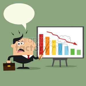 8354 Royalty Free RF Clipart Illustration Angry Manager Pointing To A Decrease Chart On A Board Flat Style Vector Illustration With Speech Bubble clipart. Commercial use image # 396051