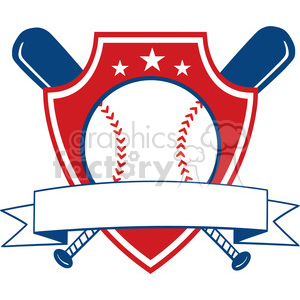 cartoon baseball sports winning banner ribbon award
