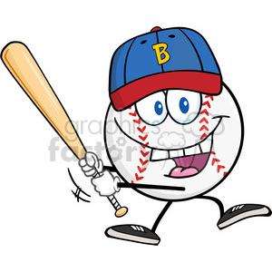 Happy Baseball Ball with hat Swinging A Baseball Bat clipart. Royalty-free image # 396081