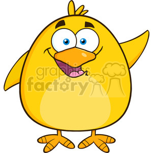 8586 Royalty Free RF Clipart Illustration Happy Yellow Chick Cartoon Character Waving Vector Illustration Isolated On White clipart. Royalty-free image # 396091