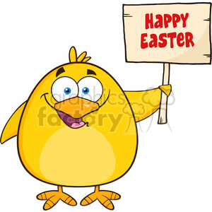 8616 Royalty Free RF Clipart Illustration Happy Yellow Chick Cartoon Character Holding A Happy Easter Sign Vector Illustration Isolated On White clipart. Royalty-free image # 396111