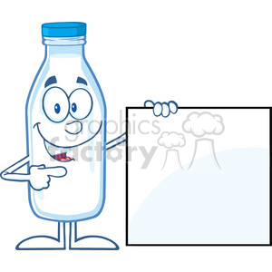 Royalty Free RF Clipart Illustration Smiling Milk Bottle Cartoon Mascot Character Showing A Blank Sign clipart. Royalty-free image # 396161