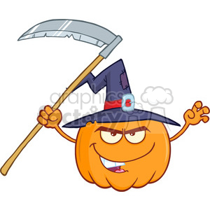 Royalty Free RF Clipart Illustration Scaring Halloween Jackolantern Pumpkin With A Witch Hat And Scythe Cartoon Mascot Character clipart. Commercial use image # 396181