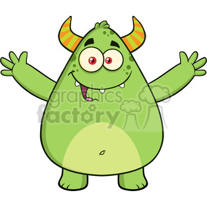 8929 Royalty Free RF Clipart Illustration Happy Horned Green Monster Cartoon Character With Welcoming Open Arms Vector Illustration Isolated On White